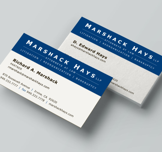 Business cards beach city design and marketing marshack hays llp business cards colourmoves